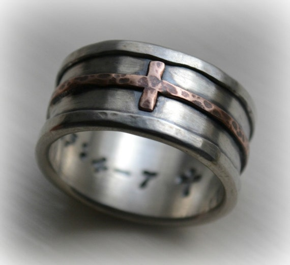 Mens cross wedding band   rustic hammered cross ring  oxidized fine silver   sterling  copper ring  handmade Christian wedding band  Jesusmens cross wedding band rustic hammered cross ring oxidized. Mens Cross Wedding Band. Home Design Ideas