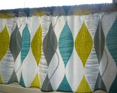 RESERVED Retro Teal Curtain Panel Valance Cafe Curtain Grey Yellow Green Modern Rod Pocket Ruched or Flat100% Cotton