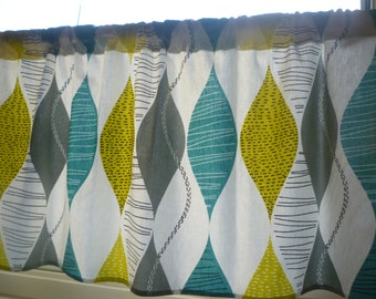"""Teal Curtain Panel Valance Cafe Curtain Grey Yellow Green Rod Pocket Ruched or Flat 54"""" x 18"""" 100% Cotton"""