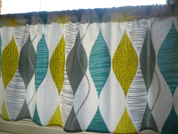 Teal Curtain Panel Valance Cafe Curtain Grey Yellow Green Rod Pocket ...