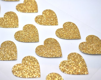 GOLD GLITTER Heart Sticker - Qty 15 - Glitter Sticker - Invitation Supply - Gold Wedding - Envelope Seal