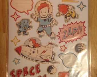 October Afternoon Brand --  Rocket Age  self adhesive Chipboard pieces  -- NEW --     (#1199)