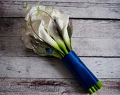 Peacock Bouquet with Large Ivory Calla Lilies - Bridal Bouquet Real Touch Wedding Bouquet