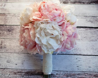 Ivory and Blush Pink Peony Bouquet with Pearl Handle - Peony Wedding Bouquet