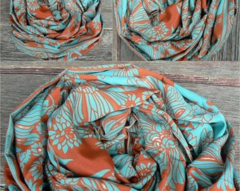 Scarf Beautiful Sari Scarf Versatile Upcycled VINTAGE Sari - floral orange blue - autumn winter accessories