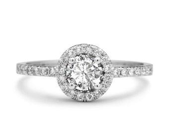 Halo Diamond Engagement Ring in 18k White Gold Brilliant Cut Round diamond Conflict Free Diamond