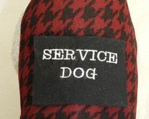 At UR Service! Classic Business Black/Burgundy Disabled Houndstooth Service Harness Vest w/ Pocket. Custom made just your Dog Cat or Ferret!