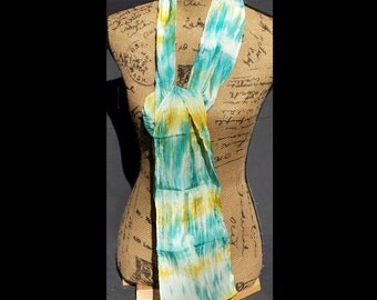 Small silk scarf in greens, gold and turquoise