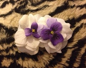 Small and Dainty White and Purple Flower Clip