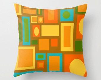 Mod Throw Pillow, Geometric  Pillow, Modern Throw Pillow, Mid Century Modern Pillow, Retro Brown Throw Pillow