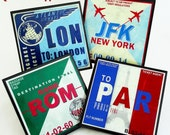 Coaster Set, Retro Aviation Travel Decor Wood Coasters, Luggage Tag Art, Airport Code Barware, Gifts for travelers, travel theme set of four