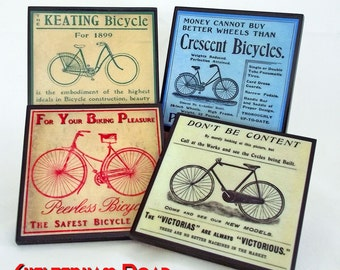 Bicycle Coaster Set, Bike Art Drink Coasters, Cycling Art Wood Coasters, Retro Barware, Man Cave Decor, Vintage Advertising, Hostess Gift
