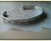 Footprints in the Sand Hammered Personalized Cuff - It was then that I carried you -Inspriation Cuff Bracelet Uniquely Impressed