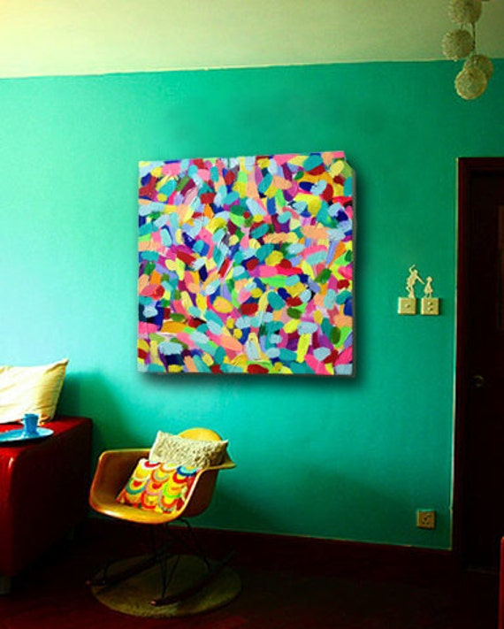 Listing to create your own custom colorful abstract painting. You choose your favorite colors and size , and I'll create you a masterpiece.