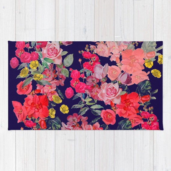 Bright and colorful neon summer floral print woven rug choose for Bright floral area rugs