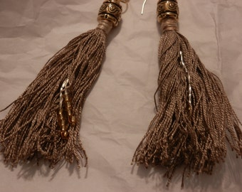 Fringed and Beaded Drop Earrings
