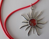 Red and Silver Prisme Paint on Metal Sunburst Pendant Necklace, OOAK, Artisan, Free US Shipping