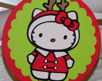 READY TO SHiP Hello Kitty Christmas HAPPY BiRTHDAY Banner Red and Green Christmas Birthday Girl Winter Holiday Birthday Party Decoration