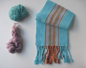 Turquoise Handwoven Scarf With Browns and Pinks