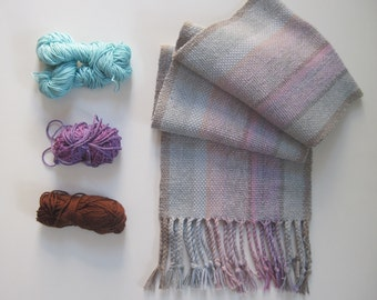 Handwoven Scarf Slight Ombre with Recycled Cotton