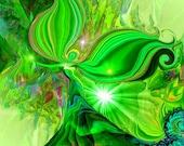 """Heart Chakra Art, Green Angel Spiritual Wall Decor """"Heart Healer"""""""