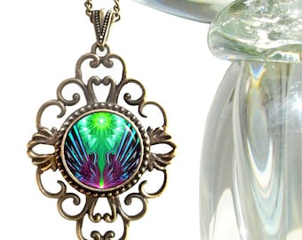 "Psychedelic Art, Boho Jewelry, Hippie Necklace, Bohemian Pendant ""Spreading New Wings"""