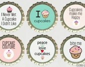 Cupcake Magnet Set 6 Bottle Cap Magnets, cupcake baby shower favor, cupcake kitchen decor, cupcake birthday party theme, cupcake party favor