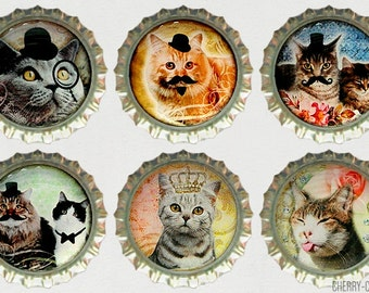 Cat Magnet Set, 6 Bottle Cap Magnets, kitchen organization, handmade fridge magnet cat, funny fridge magnet set, mustache cat party favors