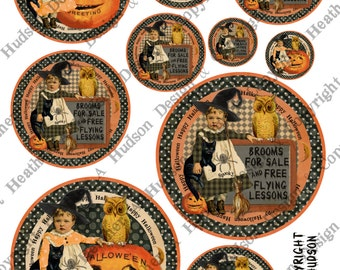 Vintage Halloween Pumpkin Moon Witch Circle Labels Victorian Digital Collage sheet Printable
