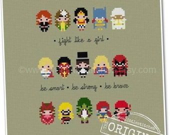 Fight Like A Girl Sampler - The *Original* Pixel People Minis - PDF Cross-Stitch Pattern - Instant Download