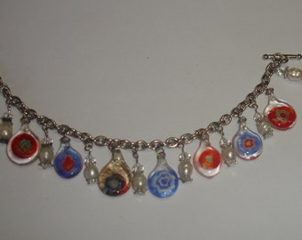 Vintage Silver Plated Charm Bracelet w Toggle Clasp Multiple Lampwork Glass & Akoya Pearl Charms