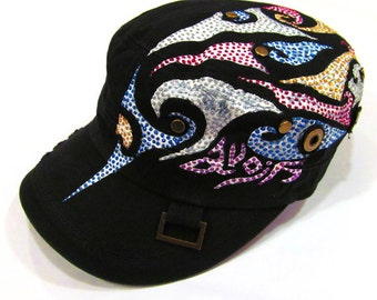Maori Tribal Patterned Black Cadet Kid's Cap (4 to 12yrs)  Pure Cotton