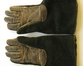 1900s rare women's sled driver's gauntlet gloves mohair leather sleigh motorcycle buggy automobile winter 1910s 1920s Boardwalk Empire WWI
