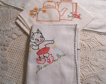 2 Flour Sack 1930s TEA TOWELS Hand Embroidered Muslin Tan Kettle & Coffee Pot Daisies, Garden Elf in Red Skirt Sprinkling Dew Drops XL sz