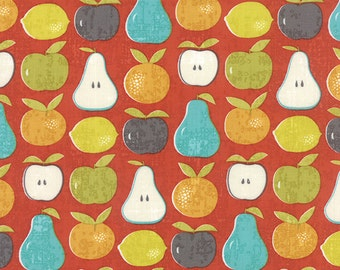 "Garden Project - Mixed Fruit in Strawberry by Tim & Beck for Moda Fabrics - 25"" Remnant"