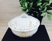 Vintage J &G Meakin Gold Trimmed Ironstone Covered Butter Dish with Inserts