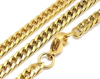 Gold Stainless Steel Chain, 1 to 5 Chains, Flattened Twist, 17 1/2 inches, 3.5mm wide, with Lobster Clasp, Hypoallergenic, Non Tarnish, #025
