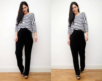 Vintage Navy High Waist Minimalist Trouser Pant 80s