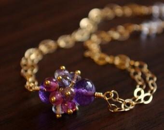 Real Amethyst Bracelet, Gold Jewelry, Genuine Gemstone Cluster, Pink Tourmaline, Iolite, February Birthstone, Purple, Free Shipping
