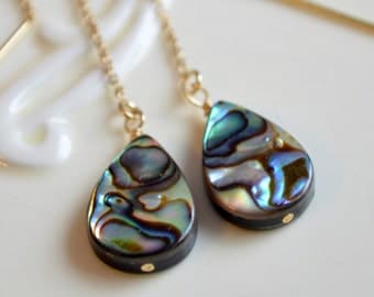 Abalone Threader Earrings, Paua Shell, Ear Threads, Gold Filled, Beach, Summer Jewelry, Free Shipping