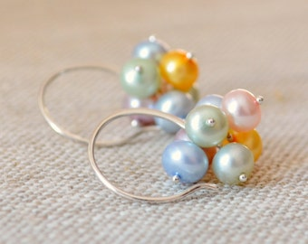Pearl Cluster Earrings, Pastel Colors, Easter, Spring Jewelry, Sterling Silver, Bridal, Genuine Freshwater Buttons, Free Shipping