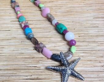 Silver Starfish Beach Hippie Festival  Statement Necklace