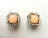 Peachy Pink Cabochon & Rhinestone Vtg Clip Earrings