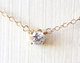Tiny Sparkles - A Clear Circle Necklace - On gold filled chain - crystal everyday dainty jewelry