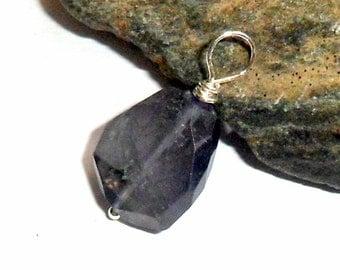 Blue Iolite Nugget Pendant 2 Sterling Silver