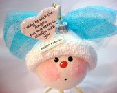Memorial Angel Keepsake Ornament Sympathy Gift Color Choice Blue Pink Red Townsend Custom Gifts Personalized Handmade Name Tag Sample - F