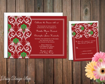 Wedding Invitation - Damask in Christmas Red and Green - Invitation and RSVP Card with Envelopes