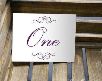 Table Name Card or Number Card with Flourish and Cursive Text - 5x7 or 4x6 Card
