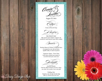 Menu Card - Calligraphy Style Text and Metallic Backer - Tall and Skinny Design - Weddings or Events