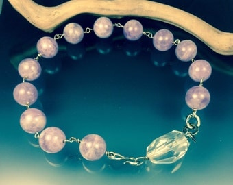 Pale amethyst necklace with clear quartz bead